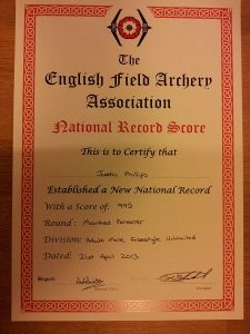EFAA National Record certificate